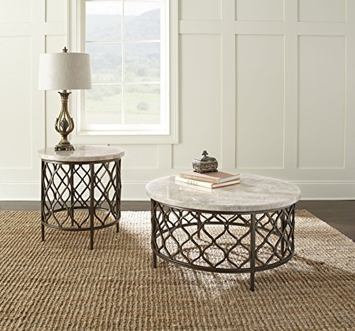Steve Silver Roland 24 Round Stone Top End Table in Yellow and Bronze