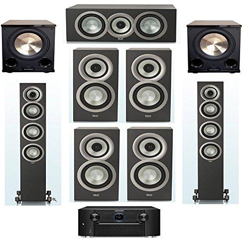 ELAC Uni-Fi Slim Black 7.2 System with 2 ELAC FS-U5, 1 ELAC CC-U5, 4 ELAC BS-U5 Speaker, 2 BIC/Acoustech Platinum Series PL-200 II Subwoofer, with Marantz SR7011 9.2 Channel AV Receiver by Elac