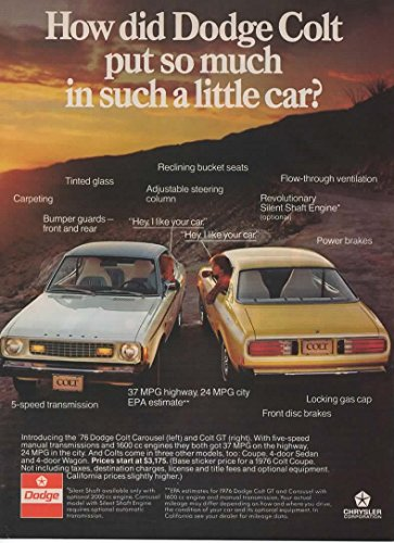 "Magazine Print Ad: 1976 Dodge Colt Carousel and GT, 1600cc engines, 3175"".so much in a little car?"""