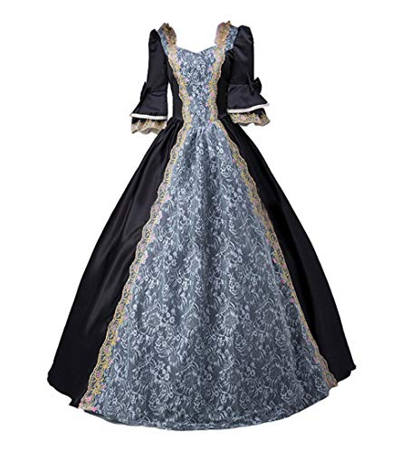 ROLECOS Womens Royal Vintage Medieval Dresses Lady Satin Gothic Masquerade Dress Black -