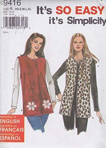 - It's So Easy Simplicity Pattern 9416, Misses' Knit Top and Vest, Size A (XS, S, M, L, XL)
