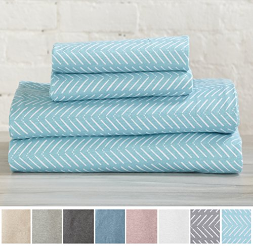 Great Bay Home Extra Soft Heather Jersey Knit (T-Shirt) Cotton Sheet Set. Soft, Comfortable, Cozy All-Season Bed Sheets. Carmen Collection By Brand. (Twin XL, Chevron Blue) by Great Bay Home