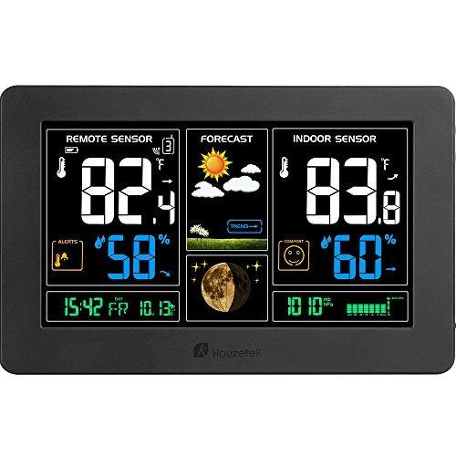 Houzetek Indoor Outdoor Weather Station, Digital Color Forecast Station with Sensor, Home Alarm Clock with Temperature Alerts, Charging USB Port, Moon Phase