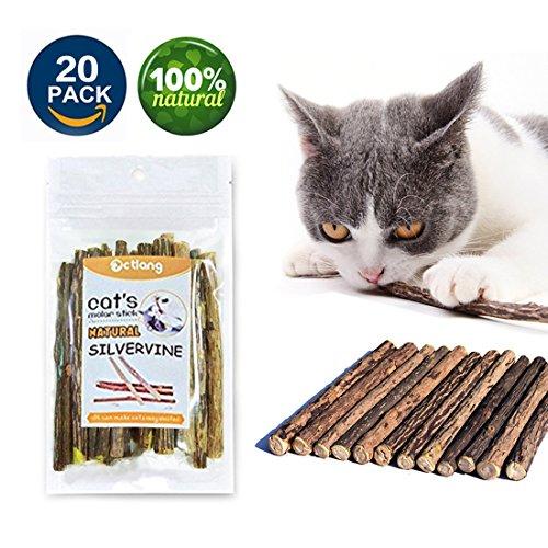 VMIZIV Cat Catnip Sticks, 20 Pcs Natural Matatabi Silvervine Sticks Chew Toys Cat Treats Sticks Natural Cat Dental Chews for Teeth Cleaning by VMIZIV