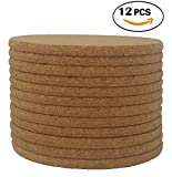 "Cork Coasters - 4"" x 4"" - 1/4 Thick - Round Edges - Pack of 12"