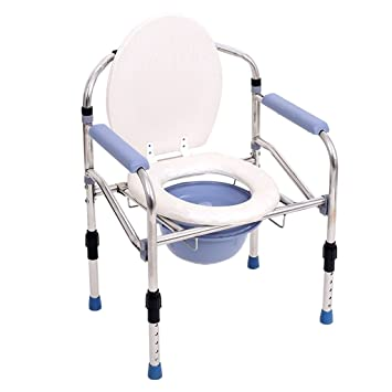Handicapped/Pregnant Woman/Elderly Person White Portable Height Adjustable  Foldable Commode Chair Anti