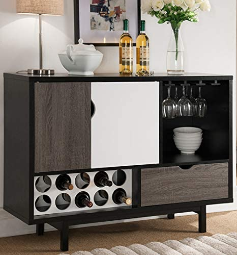Aedificabo Mid Century Buffet Cabinet Black, Glossy White and Grey