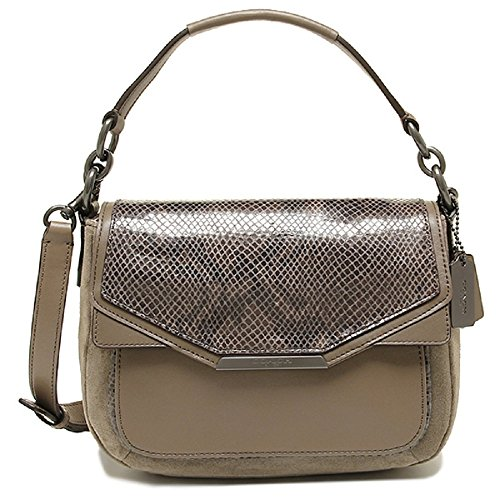 Coach Tylor Suede Exotic Python Leather Flap Handbag F33396 Bronze