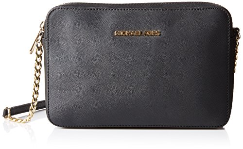 Michael Kors  Women's Jet Set Crossbody Leather Bag, Black, Large