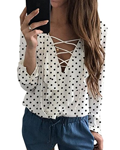 BBYES Womens Sexy Tops V Neck Lace up Long Sleeve Chiffon Ruffled Blouses Shirt (X-Large, White Dot) (Ruffle Blouse Dot)