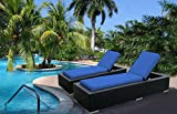 Ohana 2-Piece Outdoor Wicker Patio Furniture Chaise Lounge Set with Weather Resistant Cushions, Blue (PN7023BL) Review