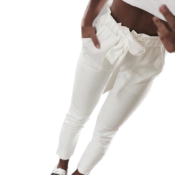 f4955a5ec5 SOMESUN Pantaloni Casual a Vita Alta con Elastico in da Donna Fiocco Bowtie  di Colore Puro Larghi Taglie Forti Eleganti Leggeri Corti Bianchi Harem ...