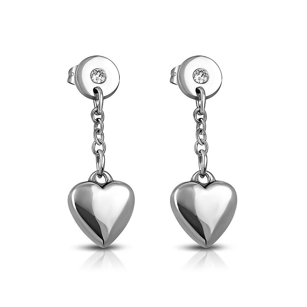 Pure 316 - Surgical Stainless Steel 316L Love Heart Long Drop Stud Earrings w/ Clear CZ Leviev Ltd. JK-EPP463