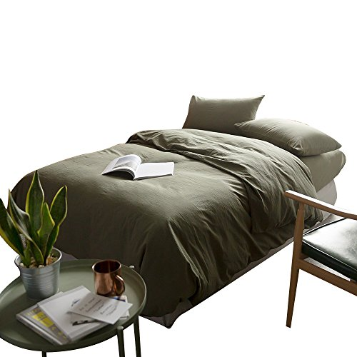 (mixinni Luxury Solid Color 3 Pieces Duvet Cover Set Queen Green 100% Natural Washed Cotton 1 Duvet Cover 2 Pillowcases Hotel Quality Soft Breathable Hypoallergenic with Zipper Ties-Full/Queen)