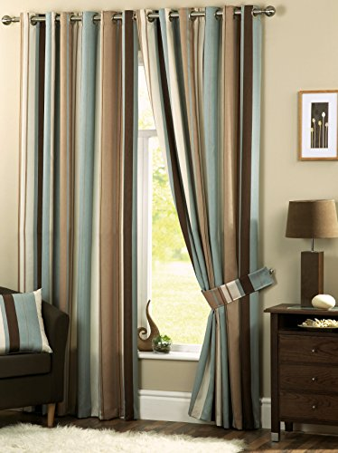 Whitworth Duck Egg Blue Stripe Readymade Lined Eyelet Curtains - 46