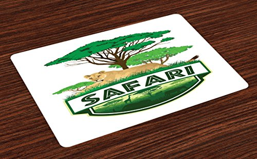 Ambesonne Safari Place Mats Set of 4, Savannah with Lion and Green Trees Wilderness Exotic Nature, Washable Fabric Placemats for Dining Room Kitchen Table Decor, Sand Brown Hunter Green