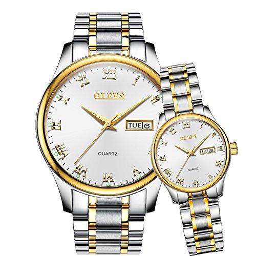 OLEVS 2Pcs Women & Men Day-Date Windows & Luminous Titanium Steel Band Quartz His & Her Couple Wrist Watches, Valentines (Stainless Steel Couple Watches)