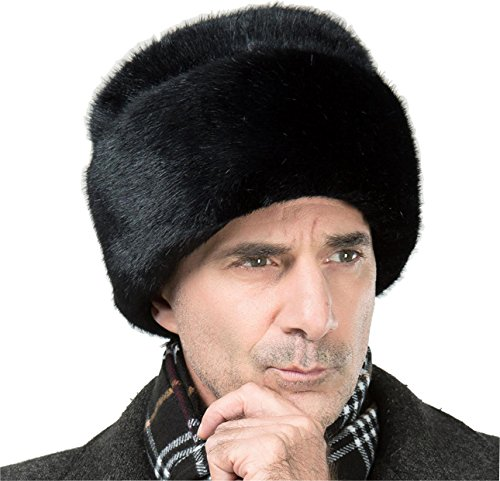 Onlineb2c Men's Faux Mink Fur Hat Russian Cossack Winter Warm Hat Ski Cap (L(60-61cm), Black)