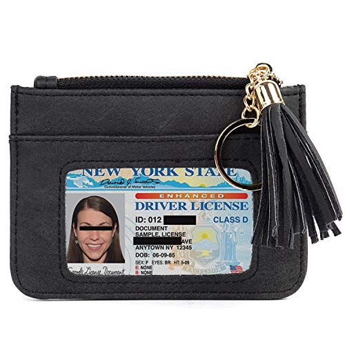 Women Keychain Wallet Zipper Coin Purse Credit Card Holder Case Small Change Purse with Key Ring and Id Card Window Black