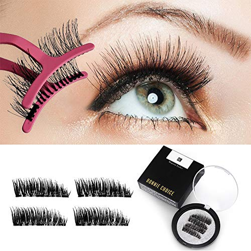 BONNIE CHOICE Triple 3 Magnetic False Eyelashes No Glue, 0.2mm Ultra Thin Magnet Lightweight & Easy to Wear Best 3D Full Eyes Reusable Eyelashes Extensions With Applicator (4 PCS/1 Pair + 1 Tweezers)