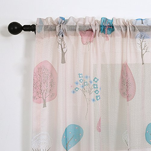 Cartoon Trees Curtains For Kids Boys Bedroom Blinds Linen: Melodieux Cartoon Trees Sheer Rod Pocket Voile Curtain