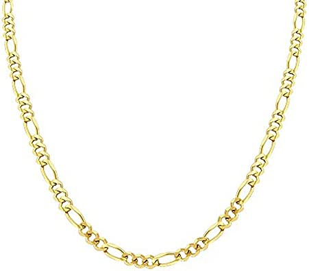 925 Solid Sterling Silver Figaro Chain 20 Inches 4.3 mm 14K Gold Plated 15.2 Grams