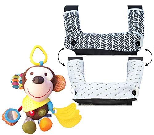 Teething Drooling Baby Set  Includes Chew Suck Pads for Ergobaby 360 Four Position Baby Carrier & Monkey Plush Activity Teether Toy for Infants and Toddlers -Ideal gift for Baby Shower & Parent Gift