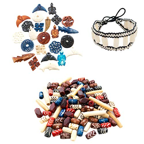 124 Bone Pendants & Bone Beads for Jewelry Making Adults w/Free Leather Bracelet, Real Ox Bone Hand Carved Craft Bulk Mix Bead Set, Use for Native American, African, Tribal, Indian, Celtic Projects