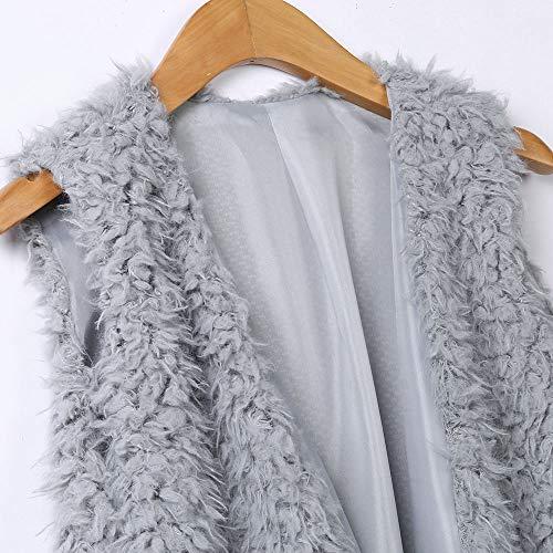 pelliccia sintetica unita Grigio senza in peluche Gilet da tinta giacca maniche donna casual Vovotrade sexy gilet calda a donna tasca 7z8xnA1