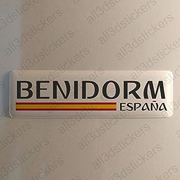 Pegatina Benidorm España Resina, Pegatina Relieve 3D Bandera Benidorm España 120x30mm Adhesivo Vinilo: Amazon.es: Coche y moto