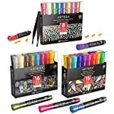 Arteza Chalk Markers Bundle (16 Pastel Colors, 16 Bright Colors, 8 Metallic Colors), Include: Replaceable Chisel Tips, Tweezers, Labels, Sticky Stencils), Non Toxic, Water Based, Erasable, Multi Surfa