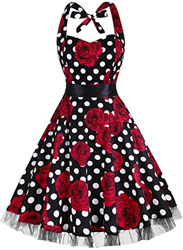 OTEN Women's Vintage Polka Dot Halter Dress 1950s Floral Sping Retro Rockabilly Cocktail Swing Tea Dresses Rose