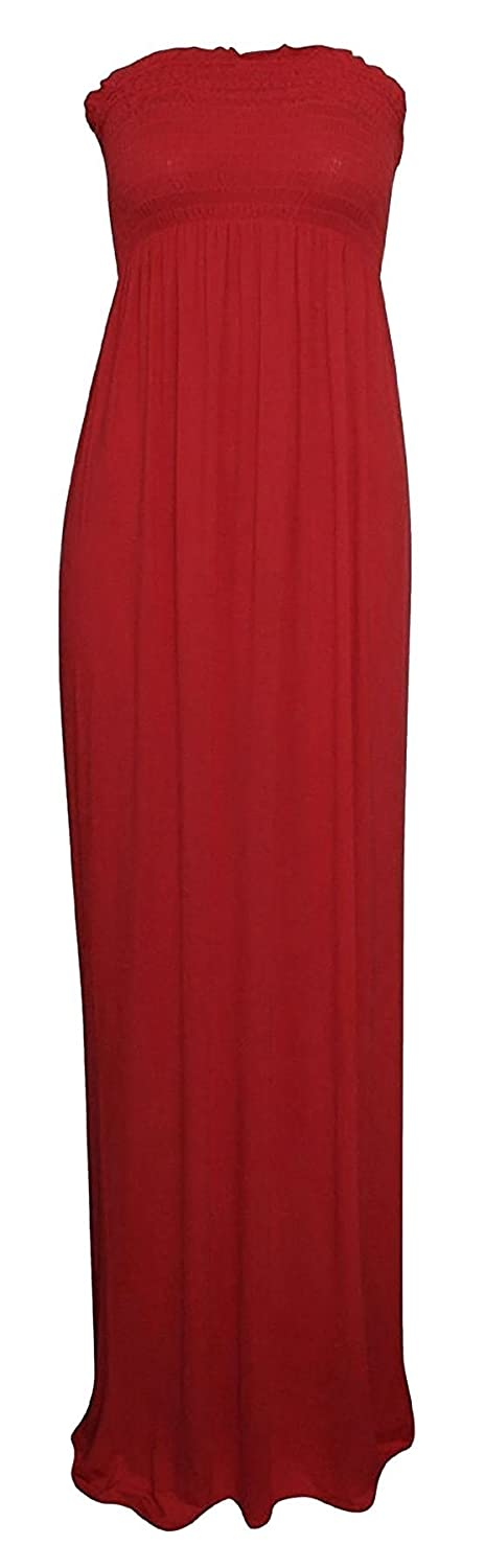Rimi Hanger Women Plain Strapless Bandeau Boobtube Maxi Dress S/3XL