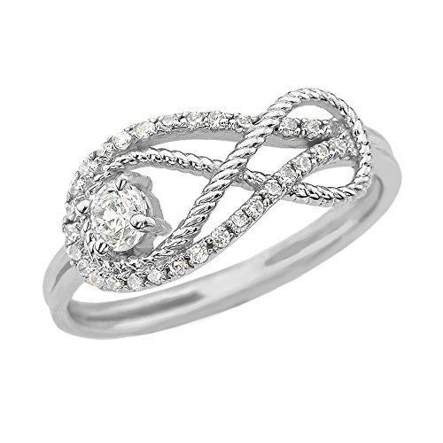 (Diamond Infinity Rope Design 14k White Gold Ring(Size)