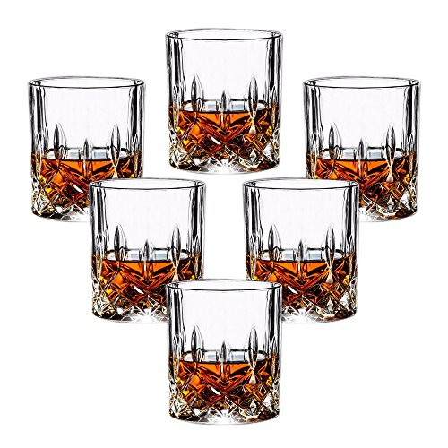 Double Old Fashioned Glasses Set of 6 - Lead-free Crystal Whiskey Glasses, Scotch Glasses Liquor Bourbon Tumblers for Scotch Whisky Drinking - 7oz Glasses, Ultra-Clarity Glass Drinkware ()