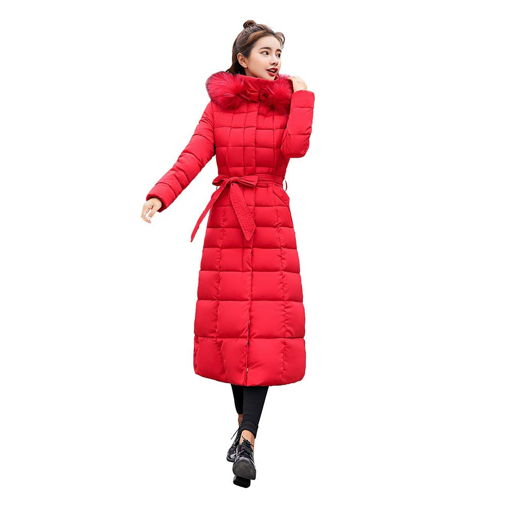 Garish Winter Fashion Women Long Warm Coat Faux Fur Hooded Parkas Women Cotton-Padded Down Jackets Casual Pure Coats Red by Garish