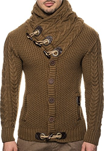 Designer Cardigan Sweater (Leif Nelson LN4195 Men's Knitted Turtleneck Cardigan; Size US XXL, Brown)