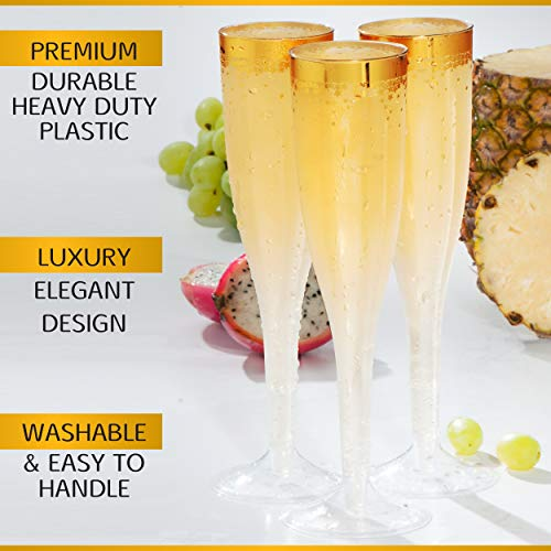 Champagne Flutes Disposable Gold - 50 Count Clear 5 5Oz