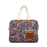 Malirona Canvas Shoulder Bag Travel Handbag Women Top Handle Satchel Crossbody Purse Floral Design (Purple Flower)
