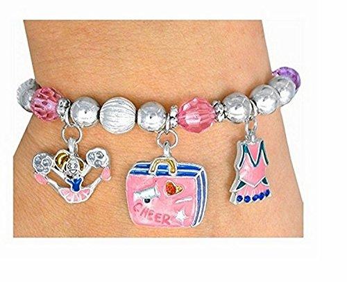 5 Charm ''Cheer Power'' Stretch Bracelet by Lonestar Jewelry