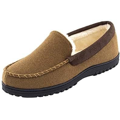 HomeTop Men's Comfy Warm Wool Micro Suede Plush Fleece Lined Moccasin Slippers House Shoes Indoor/Outdoor (Men's 9 (Aus), Brown)
