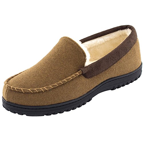 Men's Comfy & Warm Wool Micro Suede Plush Fleece Lined Moccasin Slippers House Shoes Indoor/Outdoor (44 (US Men's 11), Brown)