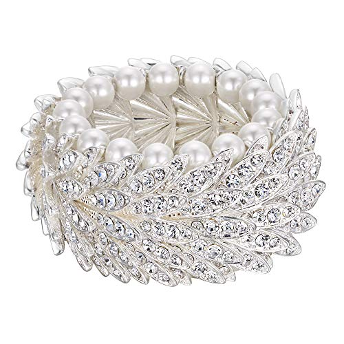 Crystal Austrian Simulate - EleQueen Women's Wedding Bridal Austrian Cristal Simulated Pearl Bracelet Vintage Multi-Layer Elastic Bracelet for Women