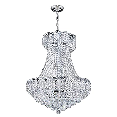 "Worldwide Lighting Empire Collection 11 Light Chrome Finish Crystal Chandelier 22"" D x 26"" H Round Medium"