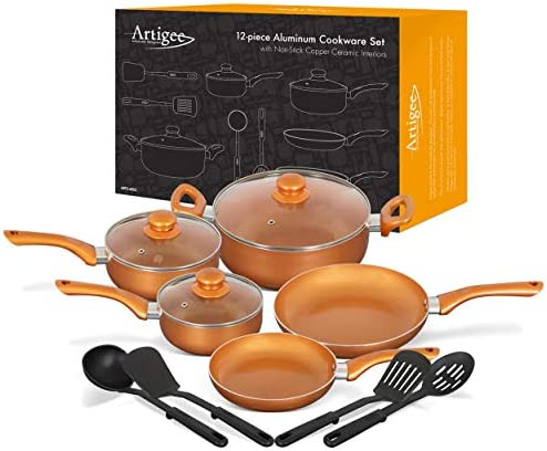 Artigee Copper Cookware Set NonStick Ceramic Coated, Perfect for Oven or Induction, Gas, Electric Stove-top Cooking 12 Piece Ceramic Cookware Set, Dishwasher Safe Frying Pans and Pots With Lids