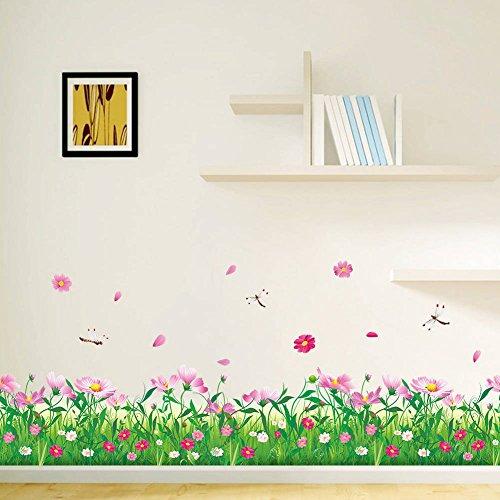 BIBITIME Grassland Flower Border Wall Decal Dragonfly Vinyl Stickers for Flooring Angular line Baseboard Window Glass Door Kitchen Cabinet Furniture Decor ()