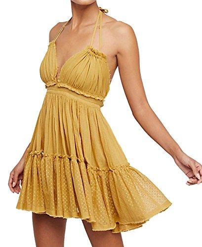R.Vivimos Womens Summer Halter Deep V Neck Sexy Patchwork Mini Short Dresses (M, Yellow)