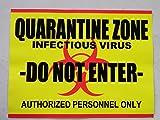 HALLOWEEN PROP SIGN - Quarantine Zone Sticker/Decal 9 x 11