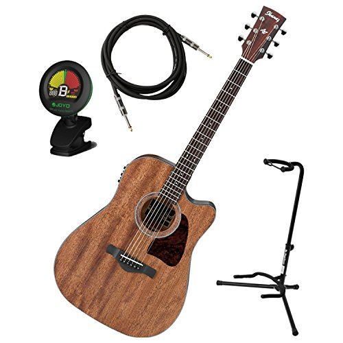 Ibanez AW54CEOPN Artwood Solid Top Dreadnought Acoustic-Electric Guitar Open Pore w/ Stand, Tuner, and Cable