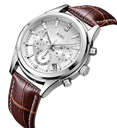 BUREI Mens Business Casual Elegant Chronograph Sports Watch with White Dial and Genuine Leather Strap (brown) (Dial Watch Leather Chronograph)